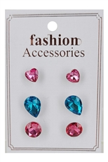 A Dozen Assorted Color 3-Pair Glass Earring Set