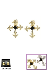 Dozen Assorted Color Rhinestone Cross Clip On Earring