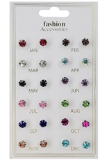 A Dozen Assorted Color 12-pair Multi Earring Set
