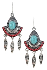 A Dozen Assorted Color Turquoise Stone Bohemian Earring