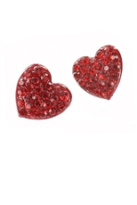 Dozen Assorted Color Rhinestone Heart Stud Earring