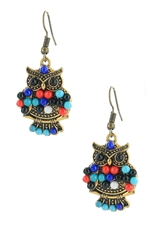 Dozen Assorted Color Owl Dangle Earring