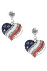 Dozen Assorted Color American Flag Dangle Earring