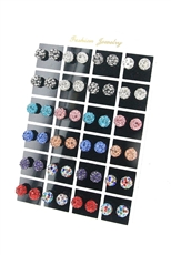 24pcs Assorted Color Rhinestone Stud Earring with Display Case