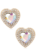 A Dozen Assorted Color Rhinestone Heart Lucite Earring