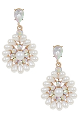 A Dozen Assorted Color Rhinestone and Pearl Dangle Earring