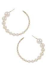 A Dozen Assorted Color Pearl Hoop Earring