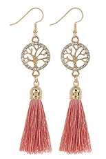 A Dozen Assorted Color Tree of Life Tassel Dangle Earring