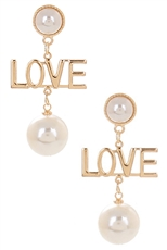 A Dozen Assorted Color Pearl Accent LOVE Dangle Earring