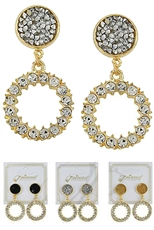 A Dozen Assorted Color Rhinestone Dangle Earring