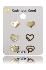 A Dozen Assorted Color 3-pair Stainless Steel Heart Stud Earring Set