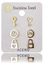 A Dozen Assorted Color 3-pair Stainless Steel Stud Earring Set