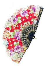 Dozen Assorted Color Floral Print Fan