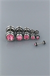 DZ Pack Pink Crystal Fake Ear Plugs