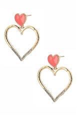 Dozen Assorted Color Rhinestone Heart Dangle Earring