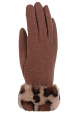 A Dozen Assorted Color Leopard Fur Accent Gloves