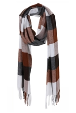 A Dozen Assorted Color Plaid Print Oblong Tassel Scarf