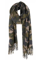 Camouflage Print Oblong Tassel Scarf