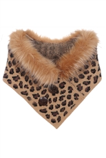 Faux Fur Leopard Double Button Neck Warmer