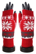 Dz Pack Assorted Color Snowflake Fingerless Gloves