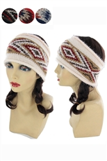 Dozen Assorted Color Aztec and Mosaic Pattern Mohair Headwrap