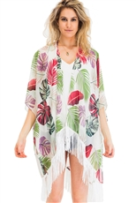 A Half Dozen Pack Assorted Color Palm Print Tassel Kimono