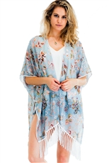 A Half Dozen Pack Assorted Color Flower Print Tassel Kimono