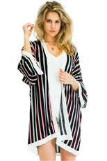 A Half Dozen Pack Assorted Color Striped Pattern Kimono