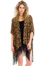 A Half Dozen Pack Assorted Color Animal Print Tassel Kimono