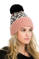 A Dozen Assorted Color Leopard Pompom Beanies