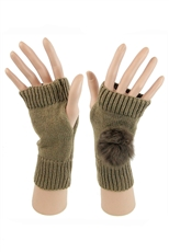 Dz Pack Assorted Color Faux Fur Pompom Fingerless Gloves