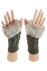 Dz Pack Assorted Color Faux Fur Accent Fingerless Gloves