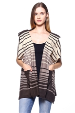 Striped Pattern Poncho with Pockets