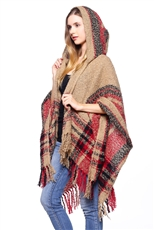 Half Dozen Pack Assorted Color Multi Tone Plaid Fringe Poncho