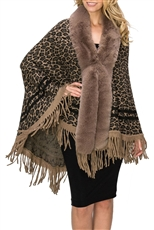 A Half Dozen Assorted Color Soft Fur Collar Leopard Pattern Poncho