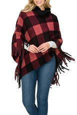 A Half Dozen Assorted Color Plaid Pattern Fringe Poncho