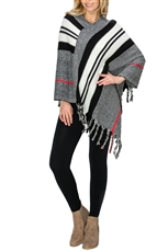 A Half Dozen Assorted Color Multi Tone Fringe Poncho