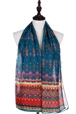 A Dozen Assorted Color Tribal Print Scarves