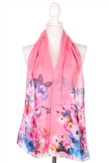 A Dozen Assorted Color Floral Print Scarves