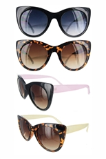 Dozen Assorted Color Cat Eye Fashion Sunglasses