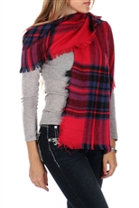 DZ Pack Assorted Color Plaid Woven Scarves