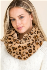 A Dozen Assorted Color Leopard Soft Fur Infinity Scarves