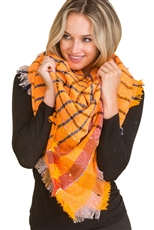 A Dozen Assorted Color Multi Tone Plaid Oversized Blanket Scarves Shawls
