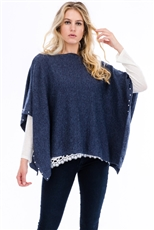 Pearl Button Accent Stretch Poncho