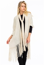 Scarf Attached Fringe Cardigan