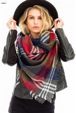 A Dozen Assorted Color Plaid Oversized Square Blanket Scarves