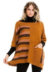 A Half Dozen Pack Assorted Color Pocket Accent Striped Poncho