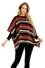A Half Dozen Pack Assorted Color Multi Tone Striped Poncho
