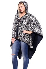 Feather Accent Paisley Print Hooded Poncho