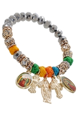 A Dozen Assorted Color Religious Charm Stretch Bracelet